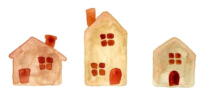 Horizontal houses watercolor