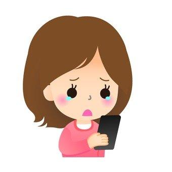 誰哭看電子郵件女性