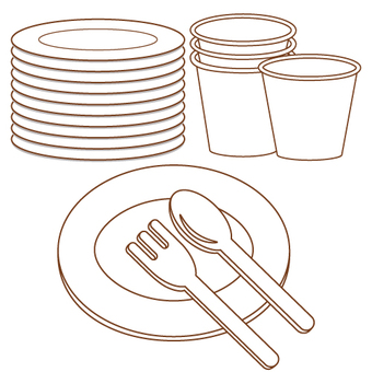 Paper cup · paper dish · fork · spoon