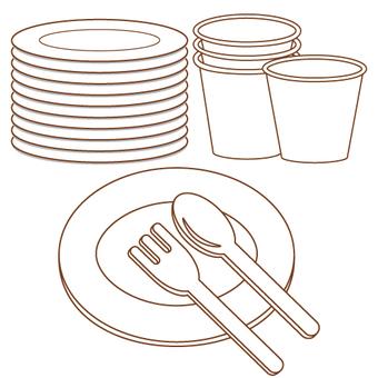종이컵 · 종이 접시 · 포크 · 스푼