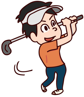 Illustration of a man playing golf