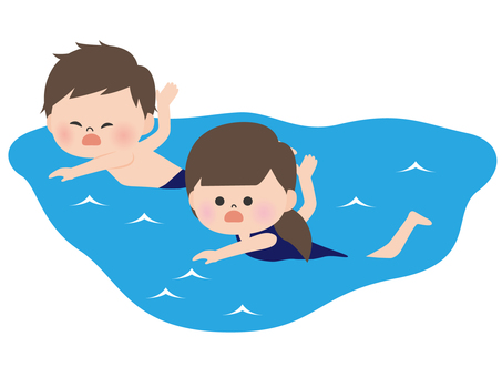 Person material <swimming boy and girl>
