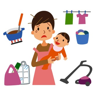 Mother holding a baby and lost in a lot of housework