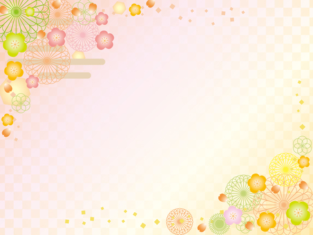 日本紙_花卉圖案_梅花4個_格仔