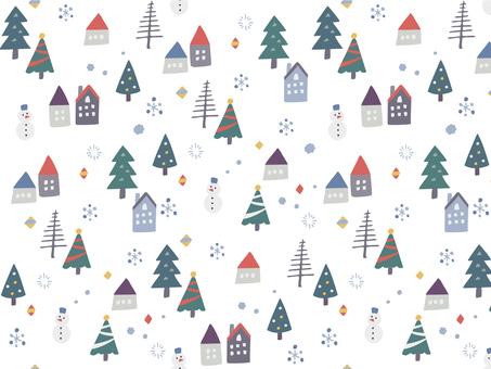 北欧風 冬の町の壁紙01