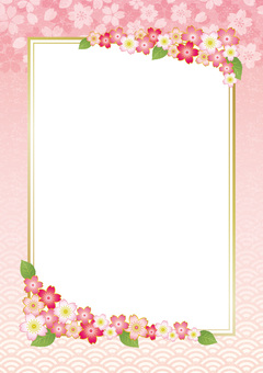Spring decorative frame with cherry blossoms and leaves 01