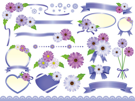 Purple gerbera and ribbon frame material collection