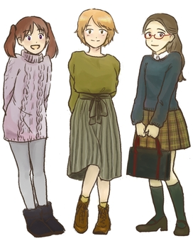 3 female elementary and junior high school students