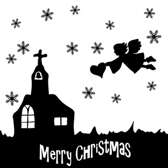 Silhouette Christmas angel and church