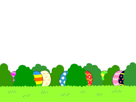 Easter eggs hiding in the bushes