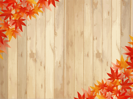 Autumn leaves / watercolor style frame 05 / maple wood grain
