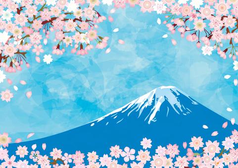 富士山桜新春背景素材壁紙イラスト花年賀状