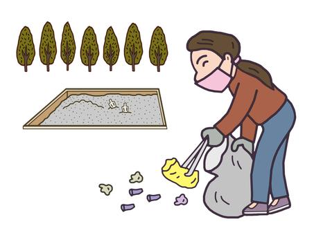 공원을 청소하는 여자