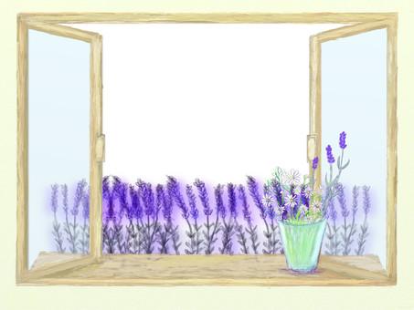 Retro window side lavender · chamomile