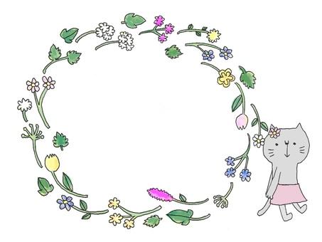 Cat flower frame 1
