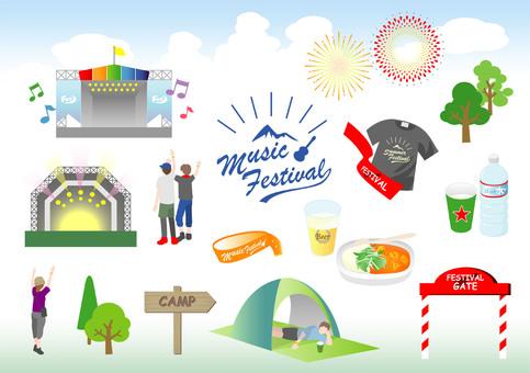 Music festival illustration set
