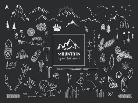 山アウトドアの手描き素材セット02