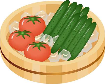 Chilled tomatoes and chilled cucumbers