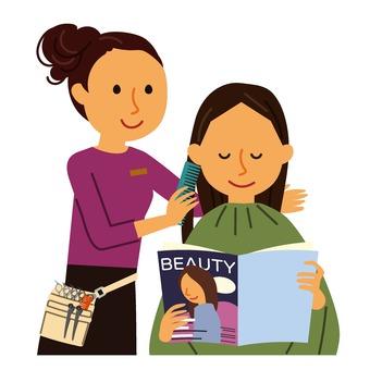 Hairdresser and female customer