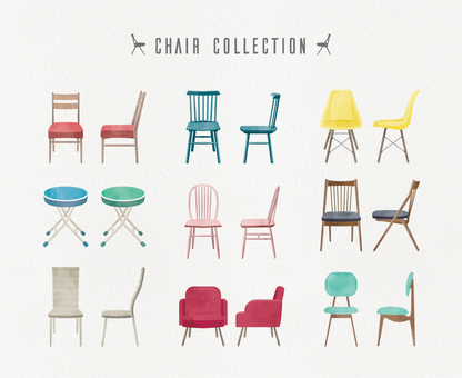 Chair fashionable illustration set watercolor style