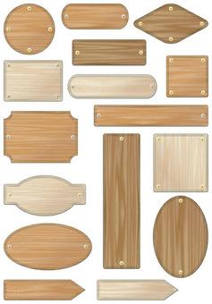 Wood grain label set
