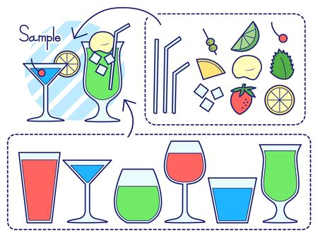 Drink and cocktail set (color)