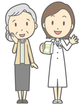 Pharmacist and patient - Elderly woman - whole body
