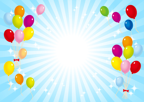 Balloons and blue radial glitter background material