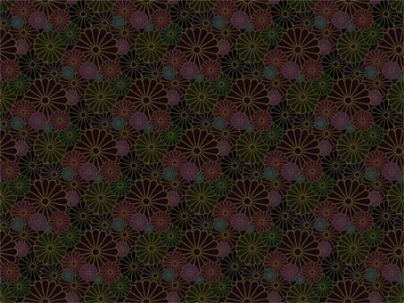 Chrysanthemum random pattern _ black