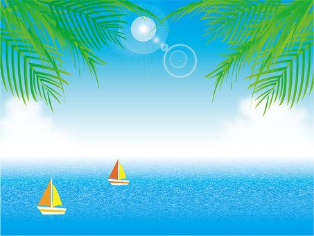 Blue sky, sun, sea, yacht and palm tree