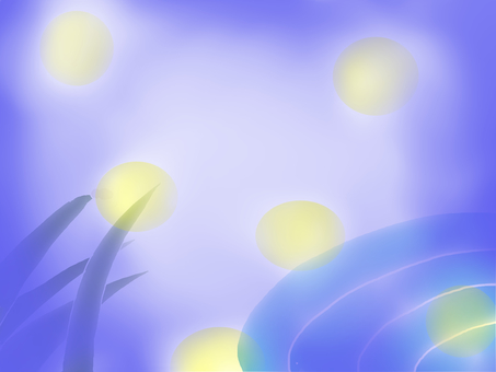 Waterside with fireflies