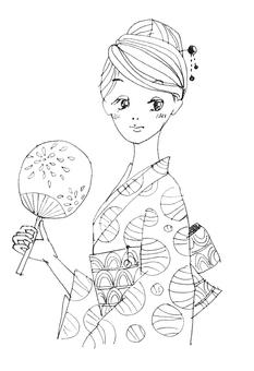 A woman in a yukata with fan