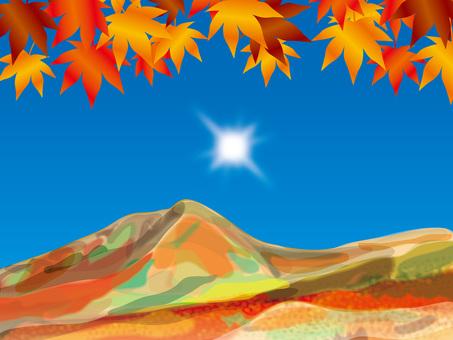 太陽和四季(12)秋葉和山脈在秋天