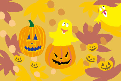 Halloween ghost and pumpkin