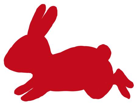 兔子剪影紅顏色