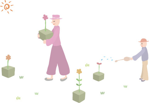 Hat guy / flowers and watering