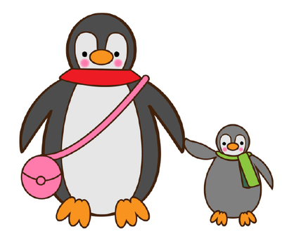 Parent and child of penguin going shopping