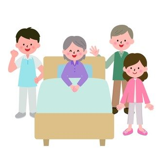 Granny sitting on bed and family