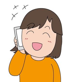 Women who talk happily on smartphones