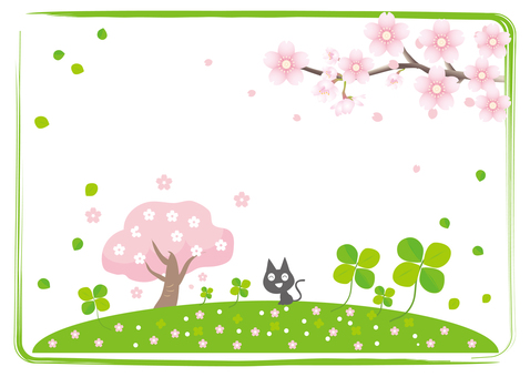 Spring cherry blossoms and clover background