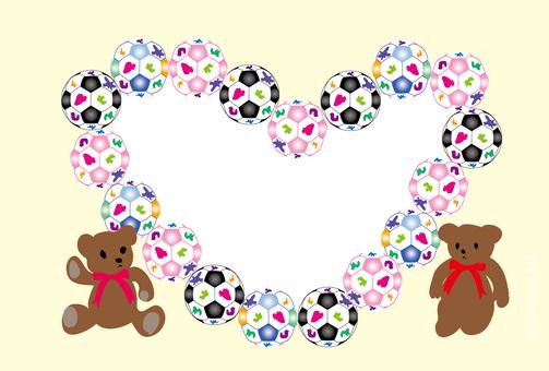 Teddy bear and heart shaped soccer ball