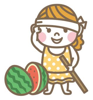 Watermelon split girl