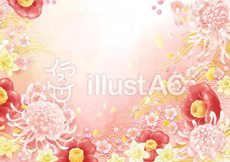 菊と椿と梅の花と水仙のイラスト