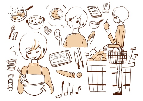 Girls making cooking
