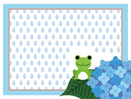 Rainy season frame (frog and hydrangea)