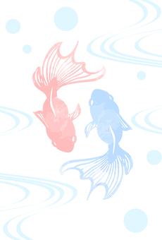 水彩風金魚のポストカード