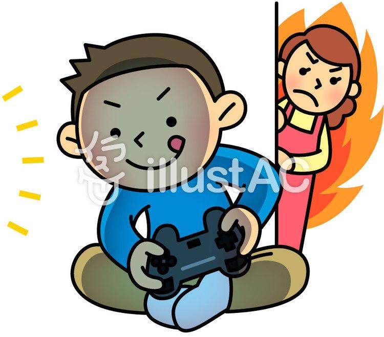 ゲームをする男の子と母親イラスト No 1340563無料イラストなら