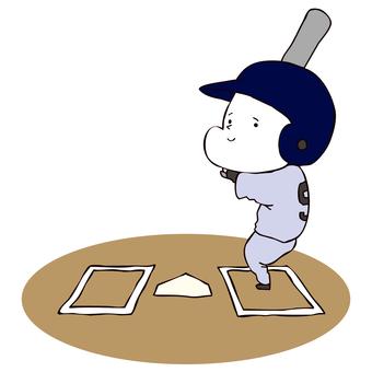 A man standing in a batter's box (high school baller)