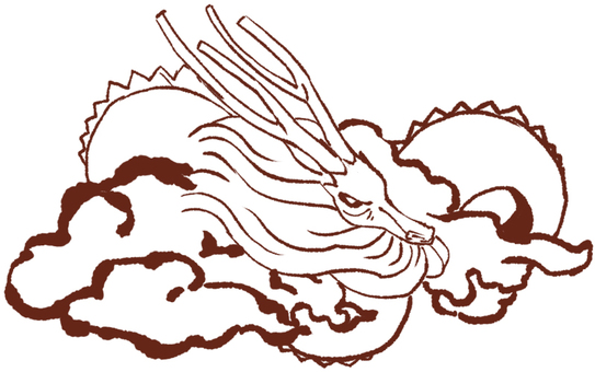 "Zodiac animal ""Samurai"" Dragon line drawing"