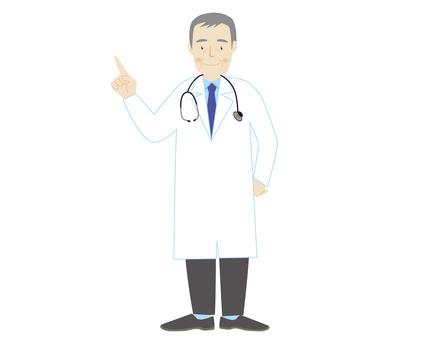 一件白色長袍的一位醫生